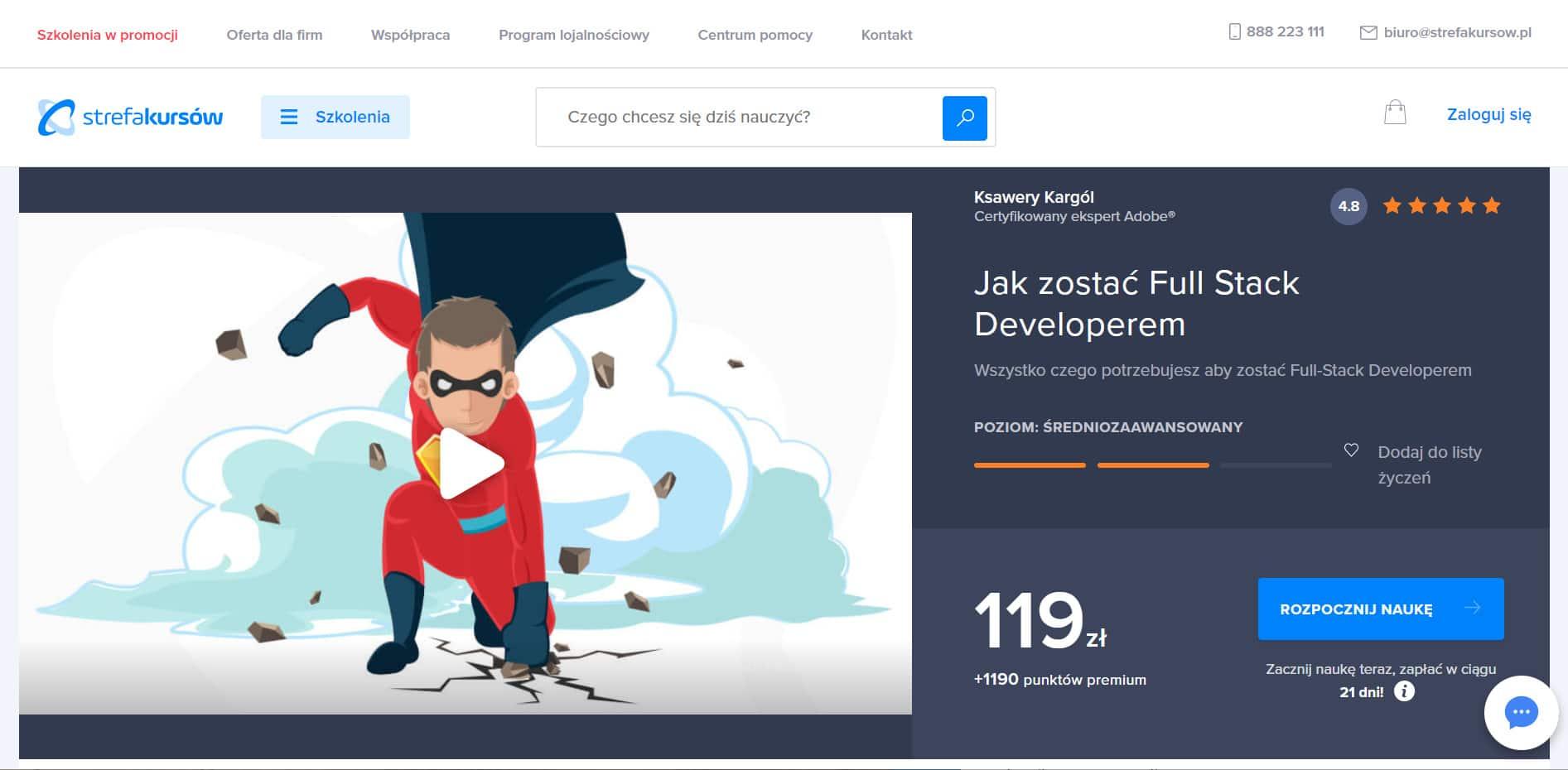 Strefa Kursów - szkolenie Full Stack Developer