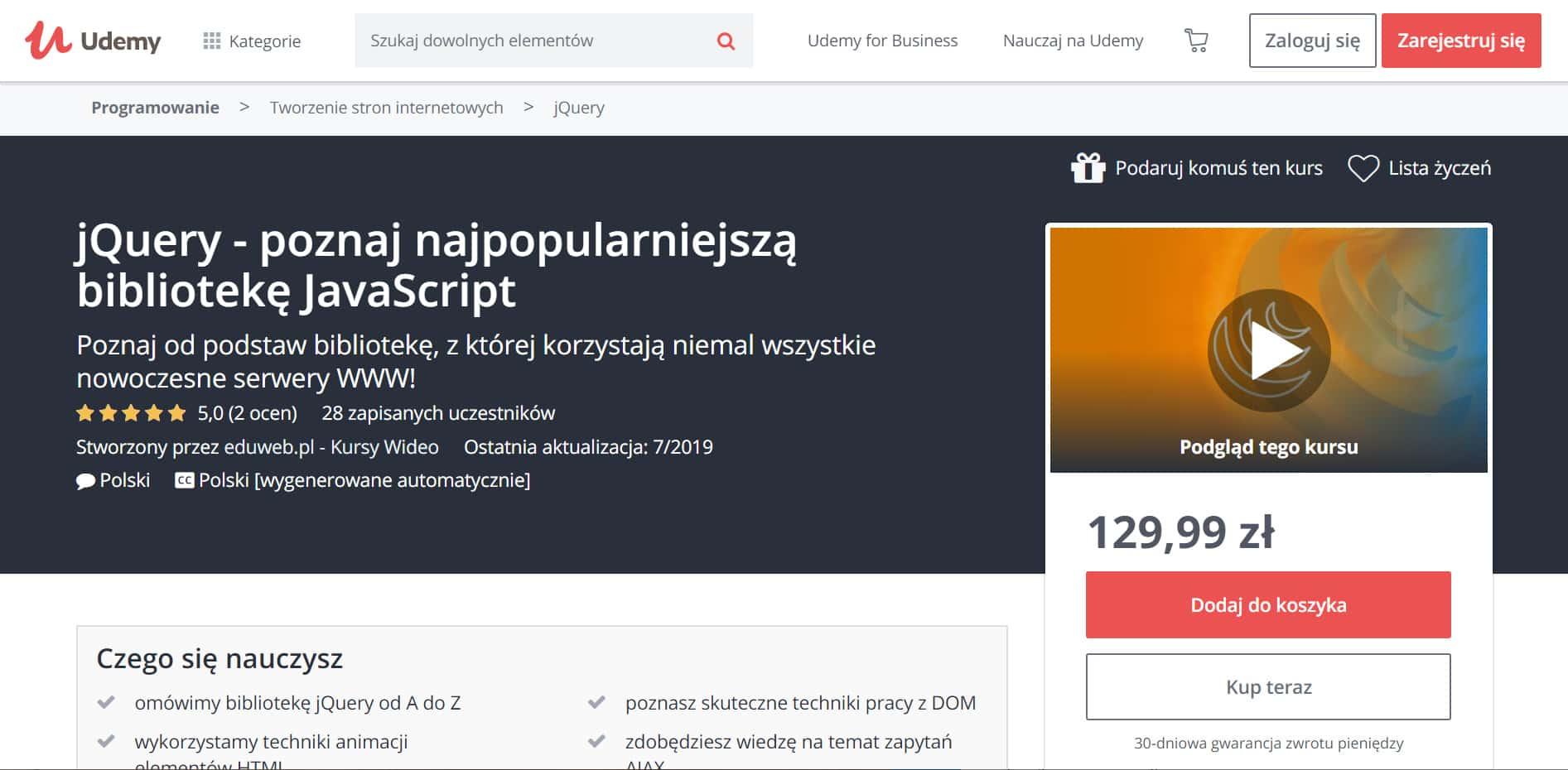 Udemy - jQuery - popularna biblioteka JavaScript